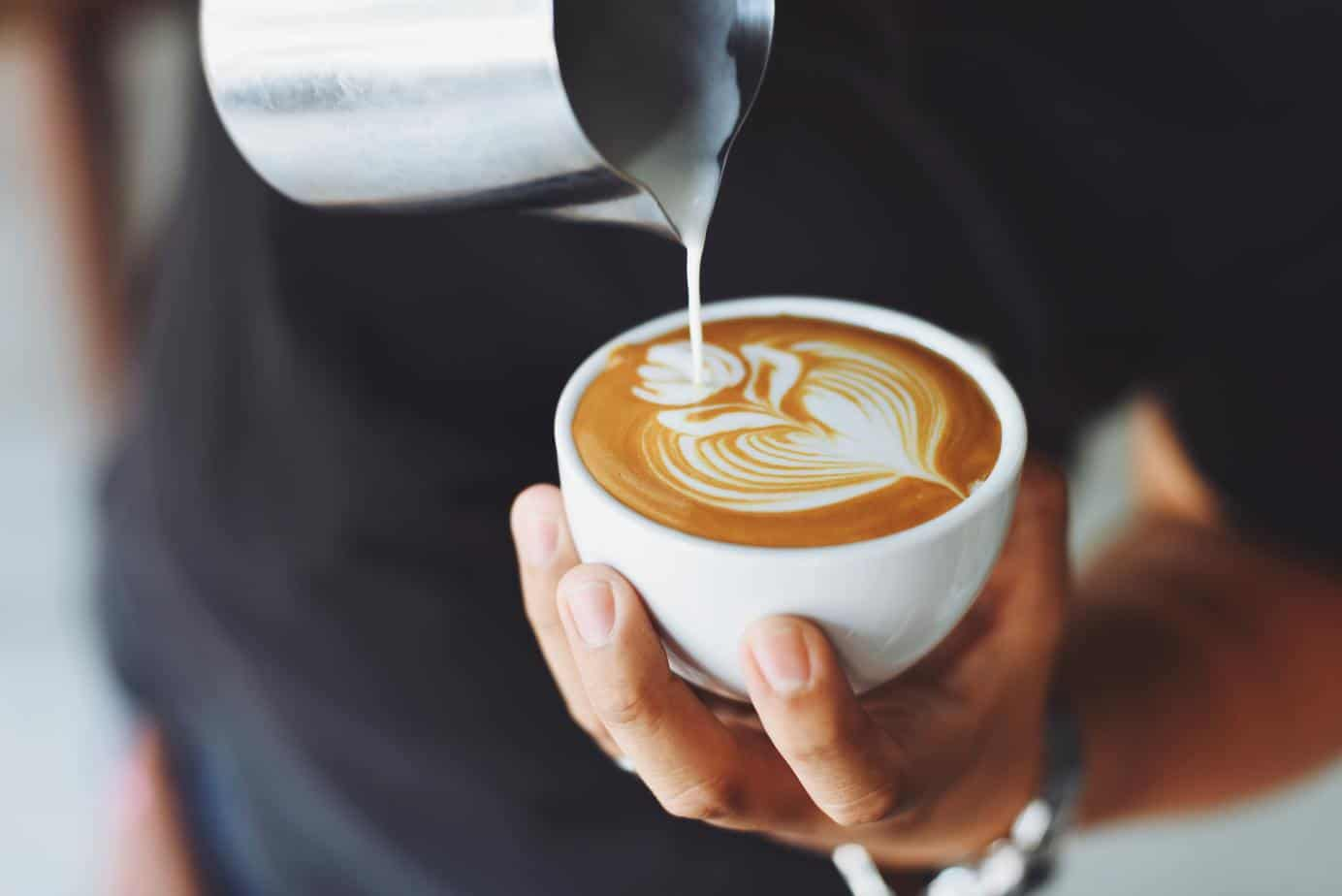 latte art on the perfect cup of coffee