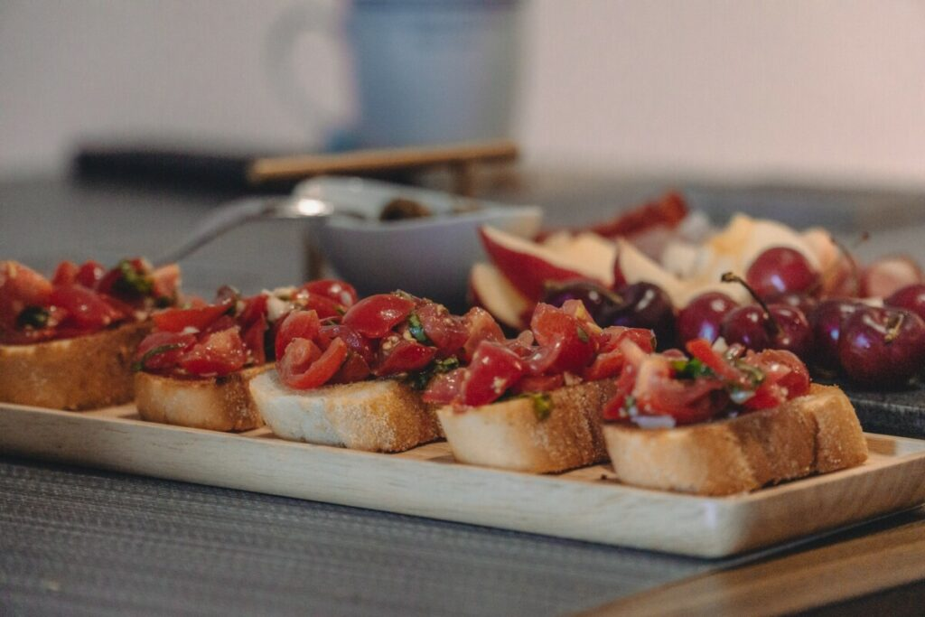 holiday catering appetizers on a white platter